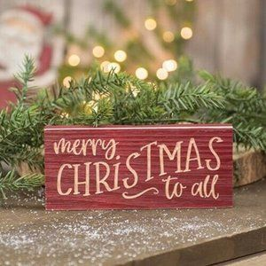 Merry Christmas to All Engraved Sign Block